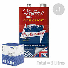 Engine Oil and Filter Service Kit 5 LITRES Millers Classic High 20w50 5L