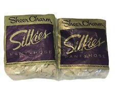 Silkies Sheer Charm Pantyhose Size Medium Off White 2 Pairs Nylon Spandex New