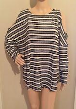 Plus Size 1X black/white NWT STRIPED CUTOUT SHOULDER blouse by APT9