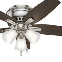 Hunter Fan 42 inch Low Profile Brushed Nickel Indoor Ceiling Fan w/LED Light Kit