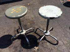 2 Vtg Ajusto Industrial Metal Stools - Adjust 18� To 25� - 13� Seats - Very Good