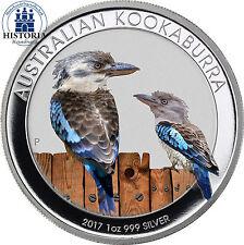 Australien 1 Dollar Silber 2017 Stgl Silbermünze Kookaburra in Farbe