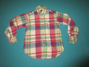 RALPH LAUREN Boys Plaid Long Sleeve Button Down Shirt Size 5