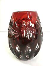 More details for vintage cranberry red coloured heavy cut glass vase