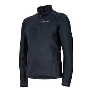 MARMOT Black Drop Line Half Zip Mens Size M Pullover Fleece Sweater Jumper NEW