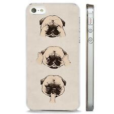 Pug See Hear Speak No Evil CLEAR PHONE CASE COVER fits iPHONE 5 6 7 8 X