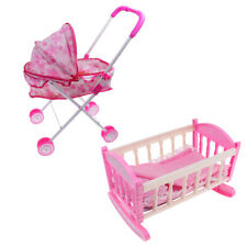 Doll Pram Pushchair Stroller & Baby Bed Crib For 25-28cm Doll Kids Play Toys