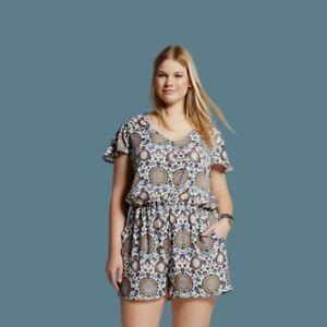 Eclair Womens Plus Size 3X Shorts Romper Colorful Boho Chic Floral Mandala Multi