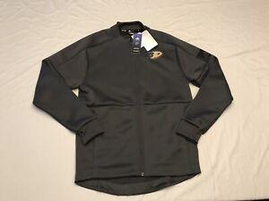 Adidas NHL Game Mode Anaheim Ducks Full-Zip Bomber Jacket Gray Size S New $80