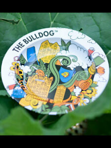 Bulldog Metal Ashtray - White - FREE UK P&P
