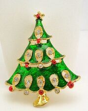 "Joan Rivers Enamel & Crystal  Christmas Tree  Pin   2"""