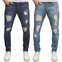 Enzo Mens Slim Fit Distressed Ripped Zip Detail Jeans, BNWT