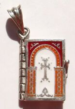 ARMENIAN HOLY BIBLE ENAMEL 925 SILVER PENDANT LORD`s PRAYER