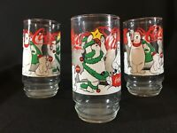 Coca Cola Retro Polar Bear Christmas Drinking Glasses Indiana Glass Lot of 3