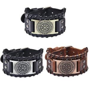 Men's Vintage Norse Viking Vegvisir Rune Leather Cuff Wristband Bracelet Jewelry