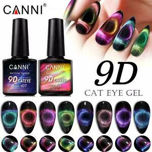 CANNI Nail Gel Polish 9D Cat Eye Glitter Top Base Coat Soak Off UV LED Colour