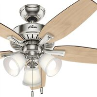 Hunter Fan 48 inch Traditional Brushed Nickel Indoor Ceiling Fan w/LED Light Kit