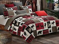 Lodge Life 2-Pc Twin Quilt Set: Black Bear Paw Moose Log Cabin Red Buffalo Check
