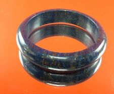 GENUINE NATURAL BLUE LAPIS LAZULI GEMSTONE BANGLE BRACELET LOVE GOLD THAI AMULET