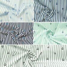 100% Cotton Poplin Fabric by Fabric Freedom Nautical Anchors Stripes 2