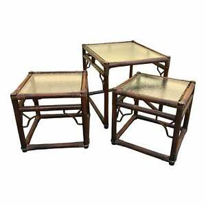 Vintage 1970s Boho Brown Bamboo Rattan Glass Top Asian Style Tables - Set of 3