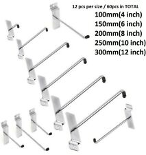 "SLATWALL HOOKS PIN ARM SLATBOARD SHOP FITTING DISPLAY 4""6"" 8""10""12"" BULK 60pcs"