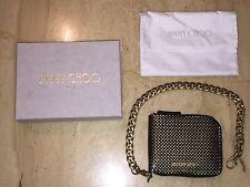 Jimmy Choo Wallet Chiltern Italian Patent Leather Polkas Dot Biker Chain Zipper