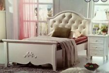 King single bed only ivory white leather head French Provincial New
