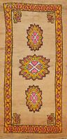 Geometric Tribal Authentic Moroccan Oriental Runner Rug Hand-knotted Hallway 4x9