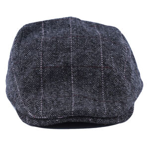 Mens Winter Fashion England Style Flat Casual Hat Visor Cap Striped Beret LG