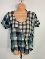 WOMENS DIESEL SIZE SMALL BLUE MIX CASUAL SLEEVELESS CREW NECK BLOUSE SHIRT TOP