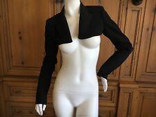Jean Paul Gaultier Vintage Black Cropped Peak Lapel Tuxedo Bolero Jacket Sz 34