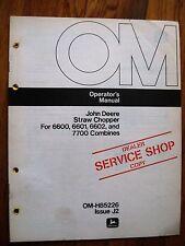 John Deere Straw Chopper 6600 6601 6602 7700 Combine operators Manual Jdj3