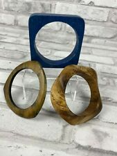 Wooden Bracelet Set of 3 Round Wavy and Blue Square