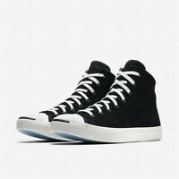 Mens Converse Jack Purcell Signature Mid Top Suede 157710C Black/Egret Size 10