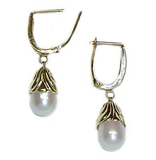 "White Cultured Pearl Dangle Lever Back Pierced Earrings 14K YG Natural 3/4"" NWT"