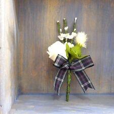 SCOTTISH WEDDING BUTTONHOLE~TARTAN RIBBON~ARTIFICIAL WHITE HEATHER/THISTLE/ROSE