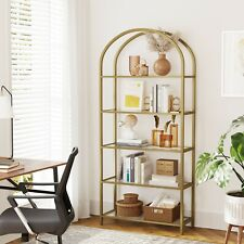VASAGLE Bücherregal Hartglas Standregal 5 Ebenen Aufbewahrungsrega bogenförmiges