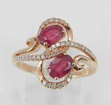 Cocktail Right Hand Ring Size 7 July Gem 14K Rose Gold 1.40 ct Diamond and Ruby