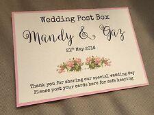 Handmade Personalised Vintage Rose Wedding Post Box Wishing Well Sign