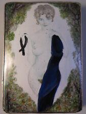 Antique Erotic Disrobing Maiden Stirling Silver Cigarette Box