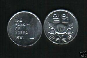 KOREA SOUTH 1 WON KM-4 A x 100 Pcs Lot 1981 ROSE UNC COIN KOREAN CURRENCY DEAL