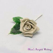 WEDDING FLOWERS SILVER GREY GROOM BESTMAN GUEST BUTTONHOLE LADIES CORSAGE ROSES