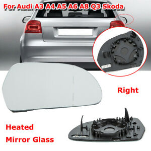 Right Side Rearview Mirror Glass Heated Backing Plate for Audi A3 A4 A5 A6 A8 Q3