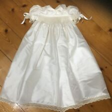 Christening/Baptism gown, smocked,hand made,new,ivory silk, size 00