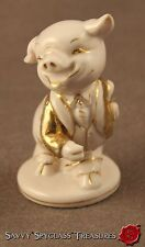 Old Pink Porcelain Pig Figurine Gold Painted Anthropomorphic Germany?