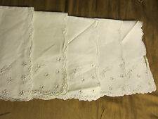 French Hand made Punch Lace Embroidery Pure Linen White Napkins 5pc set