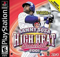 Sammy Sosa High Heat Baseball 2001 Playstation PS1 COMPLETE CIB Clean Disc