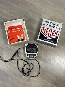 Heuer Microsplit Stopwatch 1000 w/ Original Package Works