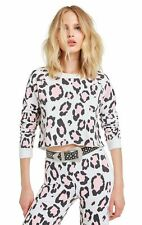 Wildfox Couture Blush Leopard Beach House Crop White Sweater Size XS
